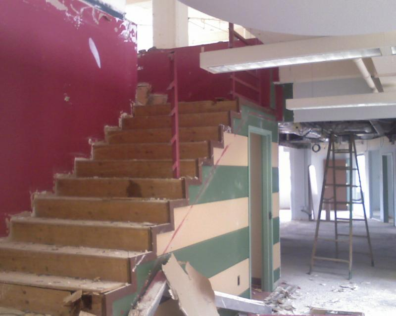 Demolition of entire stair case with railings